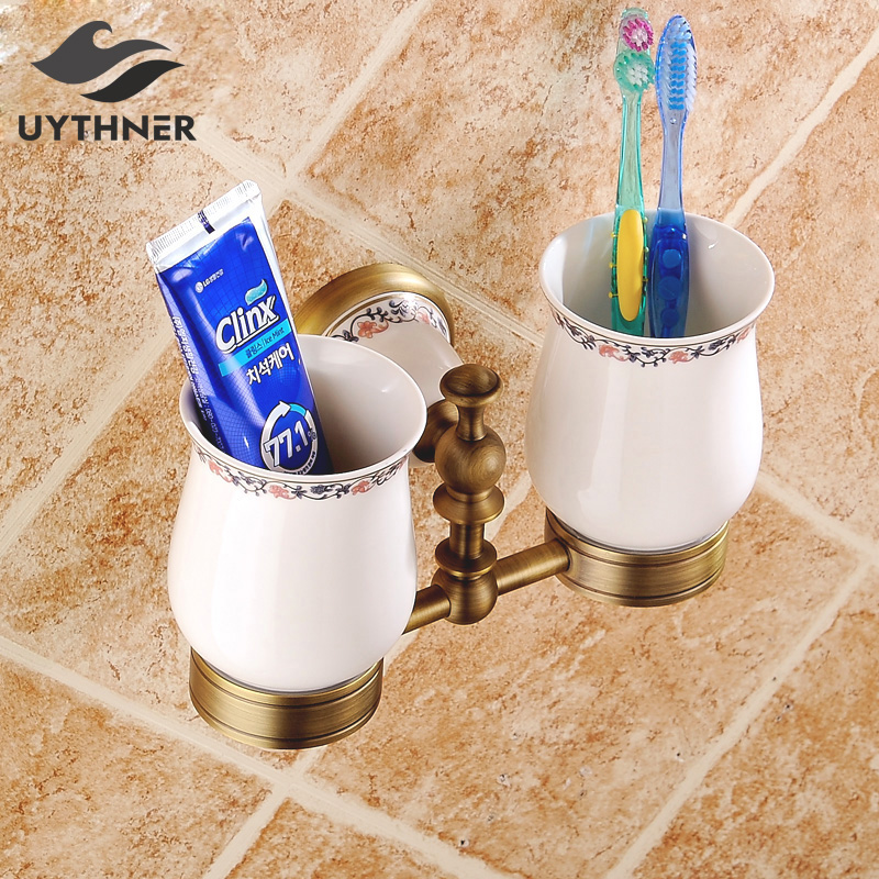 Antique Brass Solid Brass Bathroom Accessories Double Handle Tooth Cup & Tumbler Holder Wall Mounted leyden luxury gold finish blue crystal double cup tumbler holder brass wall mounted toothbrush tumbler holder bathroom accessory