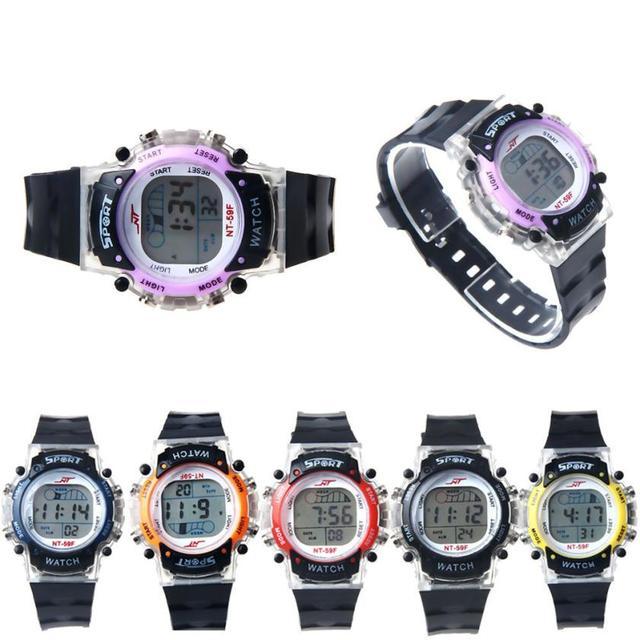 Children Watch Digital 2017 Fashion Boys Girls Kids LED Silicone Band Black Digital Wristwatches Students Sports Watches Dec14