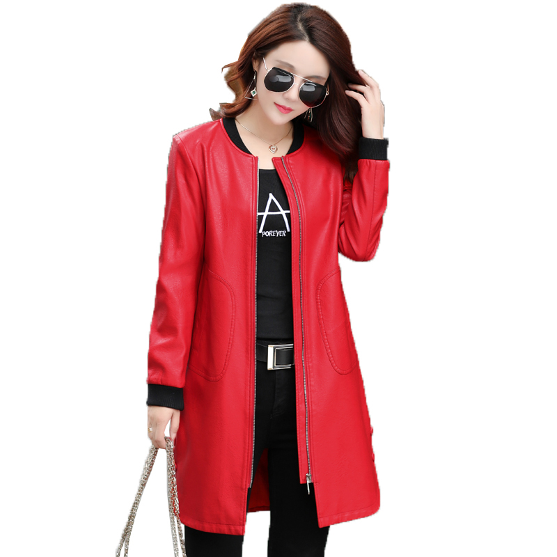 Plus Size 4XL 5XL Women Leather Jacket New Long Leather Coat Ladies Leather Clothing 2017 Autumn Winter Jackets And Coats AC279