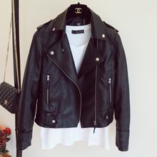 2017  spring autumn pu leather jacket faux soft leather coat slim black rivet zipper motorcycle pink jackets