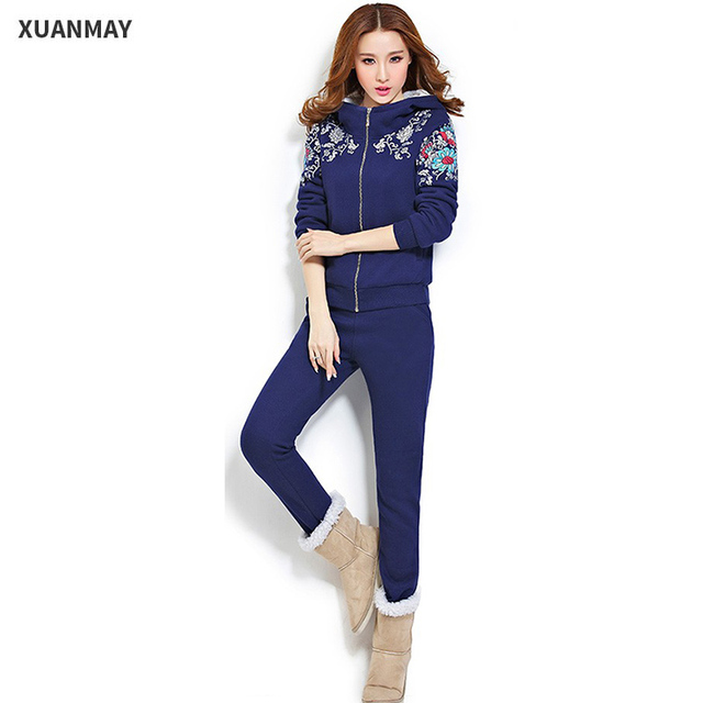 2017 new winter Big yards Leisure suit Female winter   plus thick cashmere knit sweater two sets of female