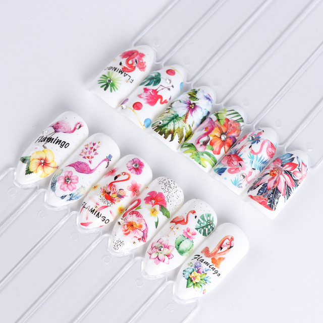 12 Designs Flamingo Water Nail Art Sticker Black Flower Necklace Decal Leaf Beauty Decoration For Nail Manicure Set SABN913-972
