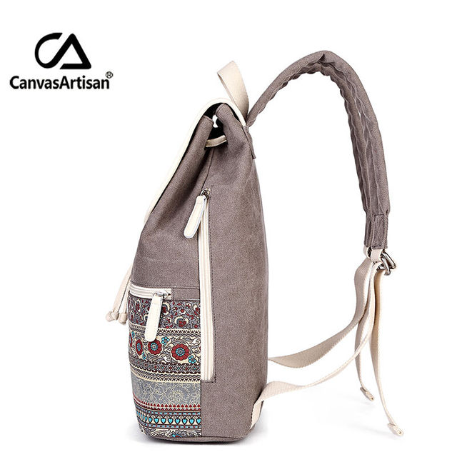 Canvasartisan Top Quality Canvas Women Backpack Casual College Bookbag Female Retro Stylish Daily Travel Laptop Backpacks Bag 1