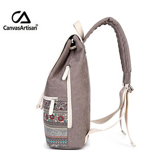 Image 2 - Canvasartisan Top Quality Canvas Women Backpack Casual College Bookbag Female Retro Stylish Daily Travel Laptop Backpacks Bag