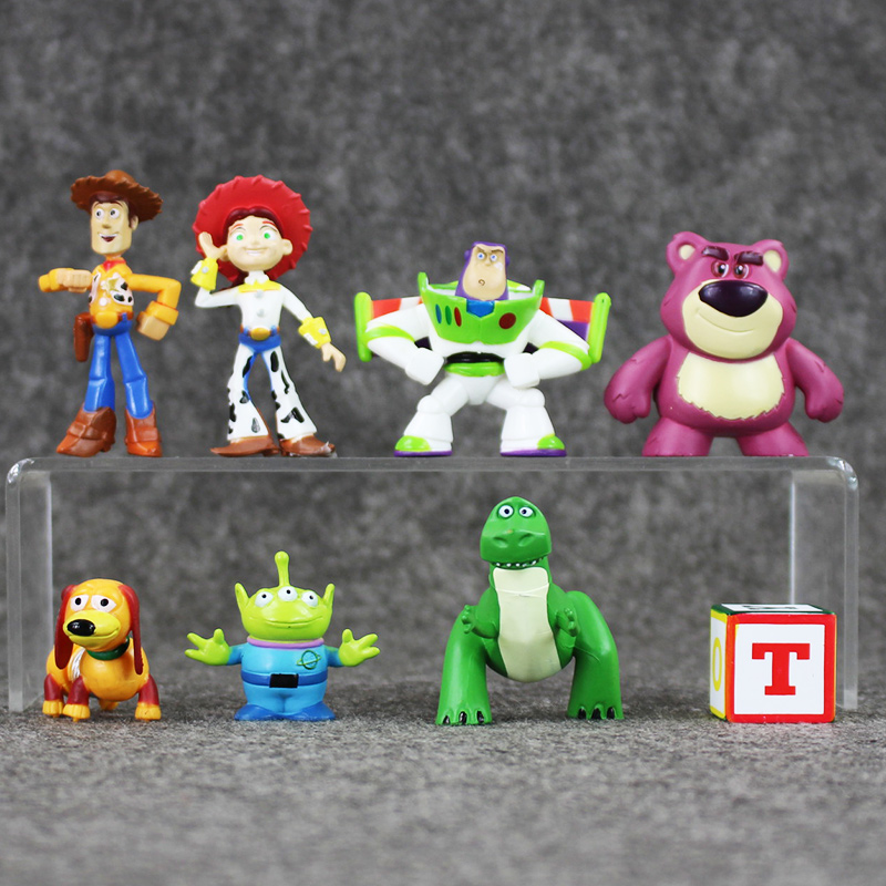 8pcs/set Cute Toy Story 3 Buzz Lightyear Woody Jessie Mini PVC Action Figure Model Toys Collectible Dolls Kids' Gifts 3-7cm 6 pcs set cute hello kitty action figure toys 5cm mini pvc cartoon cat model collection toys girls christmas birthday gifts