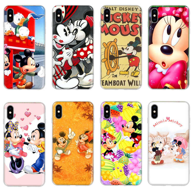 Mickey Minnie Case For Coque iPhone 7 8 Plus XS MAX XR Cute Soft ...