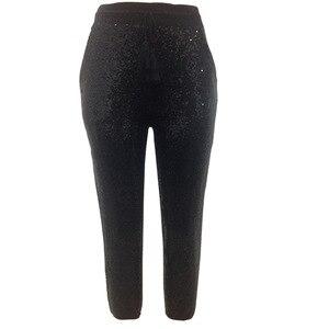 Image 5 - אופנה נצנצים מכנסי עיפרון 2020 חדש חם מוצק שחור/זהב נשים שרוך מותן בלינג מסיבת מועדון לילה עגל אורך מכנסיים