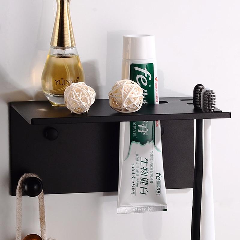 Bathroom Shelf Black Aluminum Bathroom Shelves Corner Storage Holder Cosmetic Shower Shampoo Rack Wall Mounted Toothbrush Holder