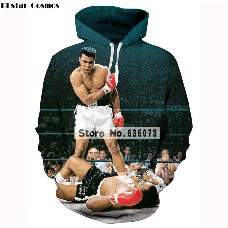 PLstar Cosmos Muhammad Ali hoodies Mens Womens 2018 New Fashion Long Sleeve Sweatshirt Casual 3D Pullovers Free shipping