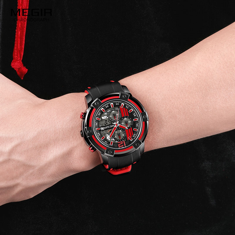Image 5 - Megir Luxury Quartz Watches Men Silicone Military Sports Chronograph Stopwatch Man Wristwatch Top Brand Relogios 2097 Black Red-in Quartz Watches from Watches