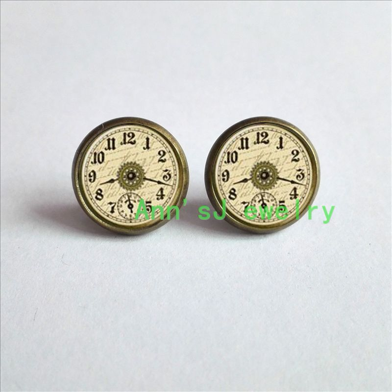 ES-00199 1pair Steampunk ear nail Victorian ear stud Clock tower Earrings watch jewelry Earrings glass Cabochon Earrings