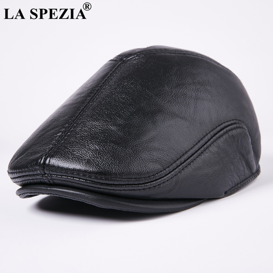 aa50f87c275 Feature  Leather Berets Caps For Men   Duckbill Hat Winter   High-End Flat Cap  Beret