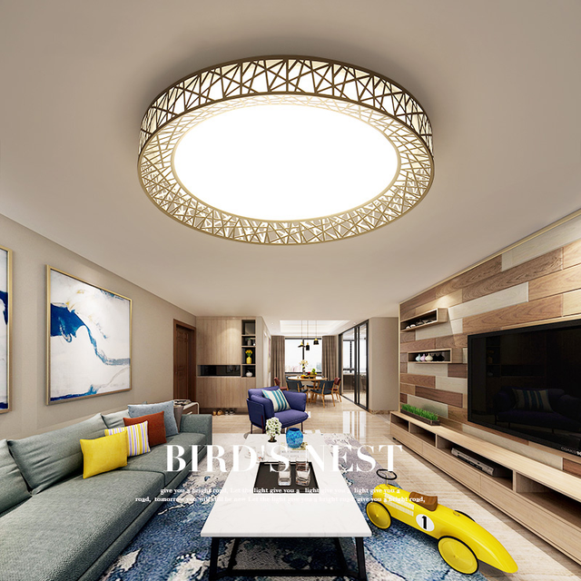 Led Ceiling Lights Round Living Room Lamp Modern Lamps Creative Bird Nest Fixtures Master Bedroom Lighting