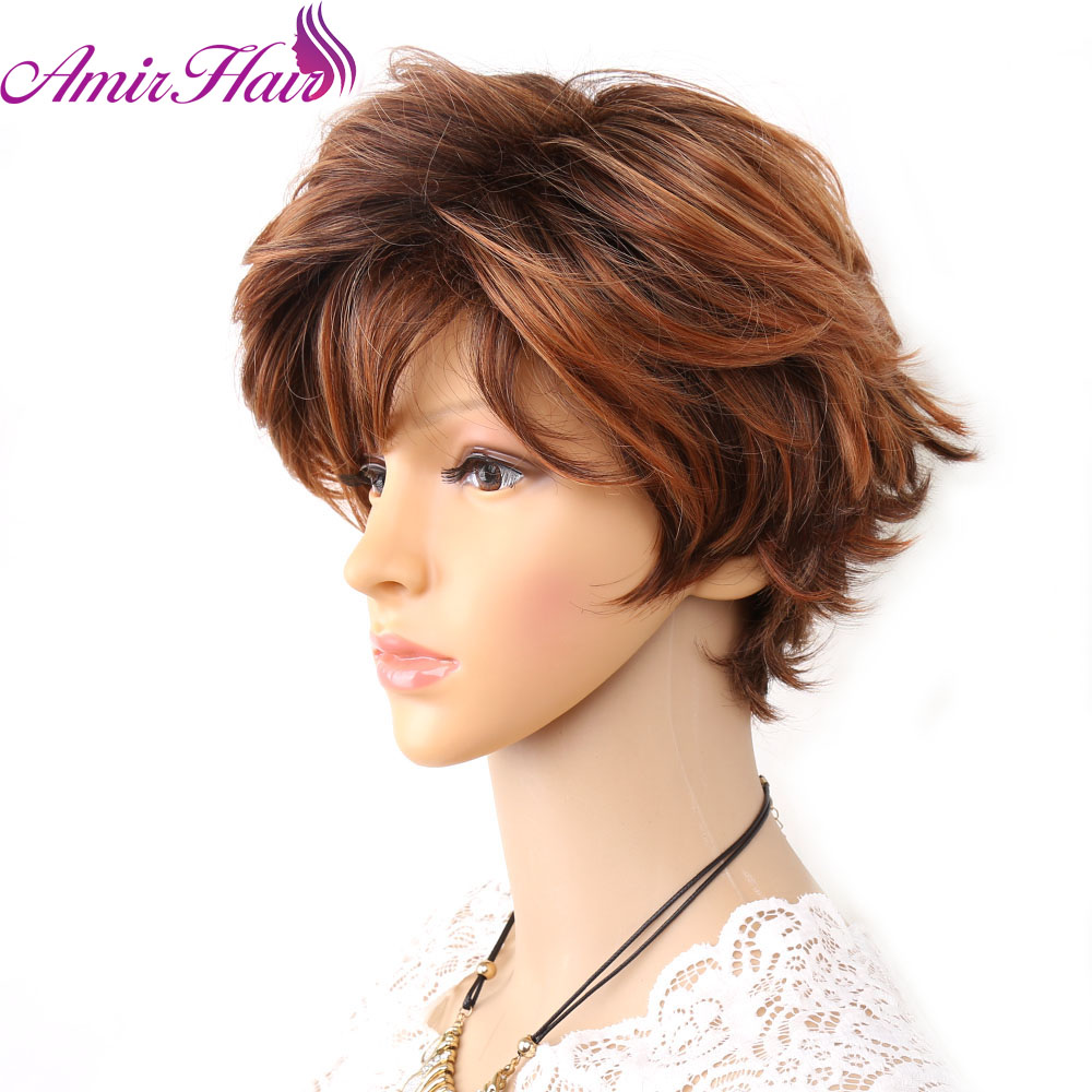 Amir Synthetic Wigs Dark brown and Blonde Short Natural Wave Wigs For Women African American Cosplay Wigs
