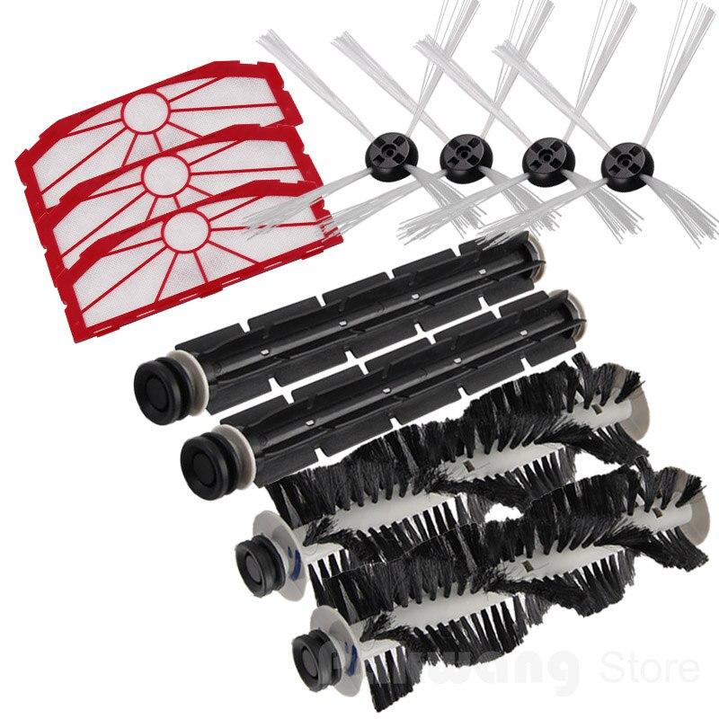 KV8 XR510 Robot Vacuum Cleaner Spare Parts : Filter 3 PCS   Side Brush 4 PCS   Rubber Brush 2 PCS   Hair Brush 2 PCS xr510 virtual wall robot vacuum cleaner spare parts
