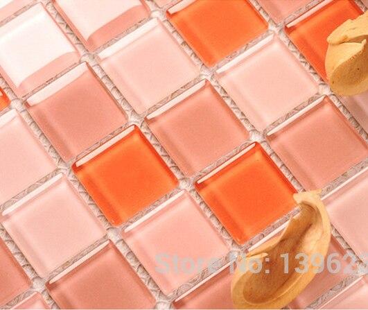 Crystal pink glass puzzle 3D mosaic home wall sticker,Kitchen backsplash,Shower Toilet Waterproof wall tiles,BIG SALE,LSNSJ04 пазлы crystal puzzle 3d головоломка вулкан 40 деталей