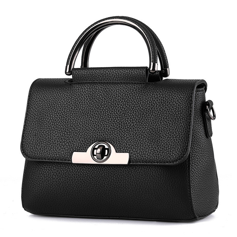 Elegant Black PU Women Handbag Cusual Office Lady Shoulder Bag Crossbody Messenger Twist Turn Lock