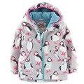 2015new marca inverno designer de bebê meninas casacos casacos engrossar quentes do bebê menina jaqueta com capuz dos desenhos animados impresso da menina da criança blazer