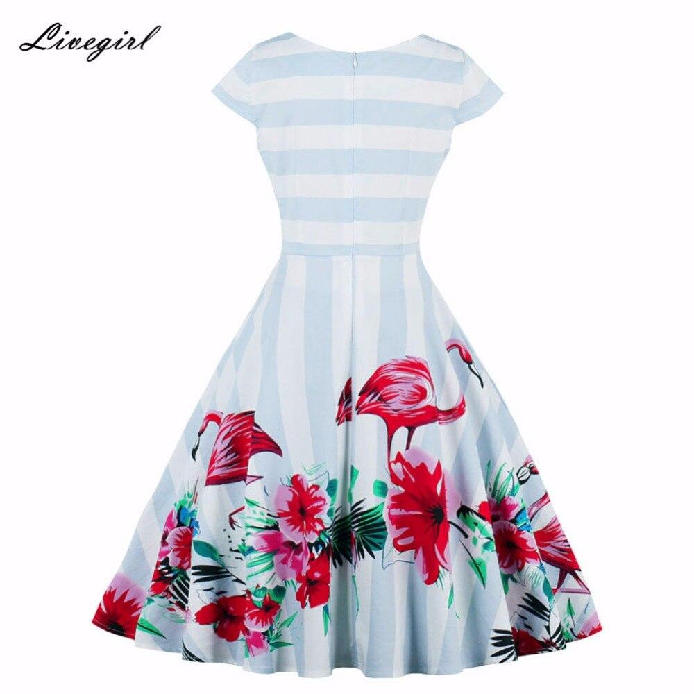 ... Women Dress Summer Striped Flamingo Retro Dress Casual Party Robe Pinup  Rockabilly 50s Vintage Dresses Vestidos ... a5d1fc0047f0