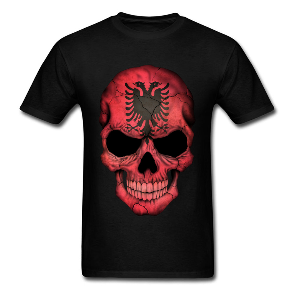 Albanian Flag Skull O-Neck T-Shirt NEW YEAR DAY Tops Tees Short Sleeve On Sale Cotton Casual Tops T Shirt Birthday Men's Albanian Flag Skull black