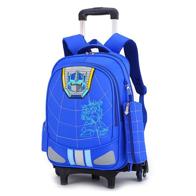 2019 sac d'école de chariot école primaire mâle Grade 3-6 sacs à dos imperméables crête réduction enfants cartables avec porte-crayon