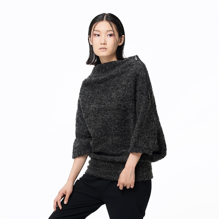 LYNETTES CHINOISERIE Winter Original Design Women Batwing Sleeve Pullover Sweater
