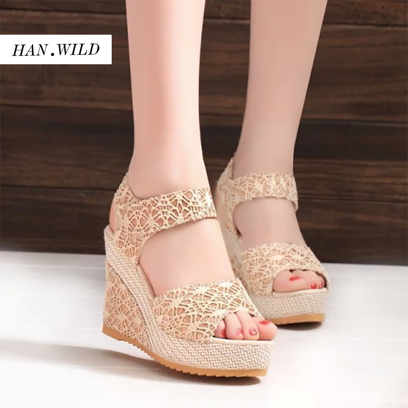 HAN.WILD Brand Woman Sandals Wedges Shoes Platform High Heels Sandals T Belt Women Lace Sandals Floral Luxury Summer Shoes phyanic 2017 gladiator sandals gold silver shoes woman summer platform wedges glitters creepers casual women shoes phy3323