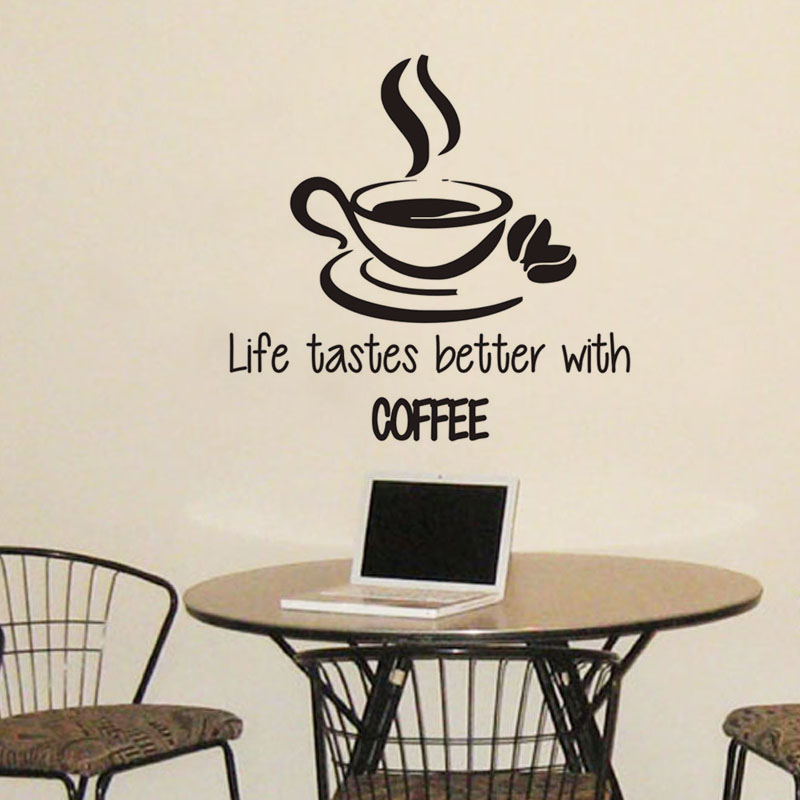 Life Tastes Better With Coffee Wall Stickers Quotes A Cup Of Coffee Wall Decals Vinyl Ad ...