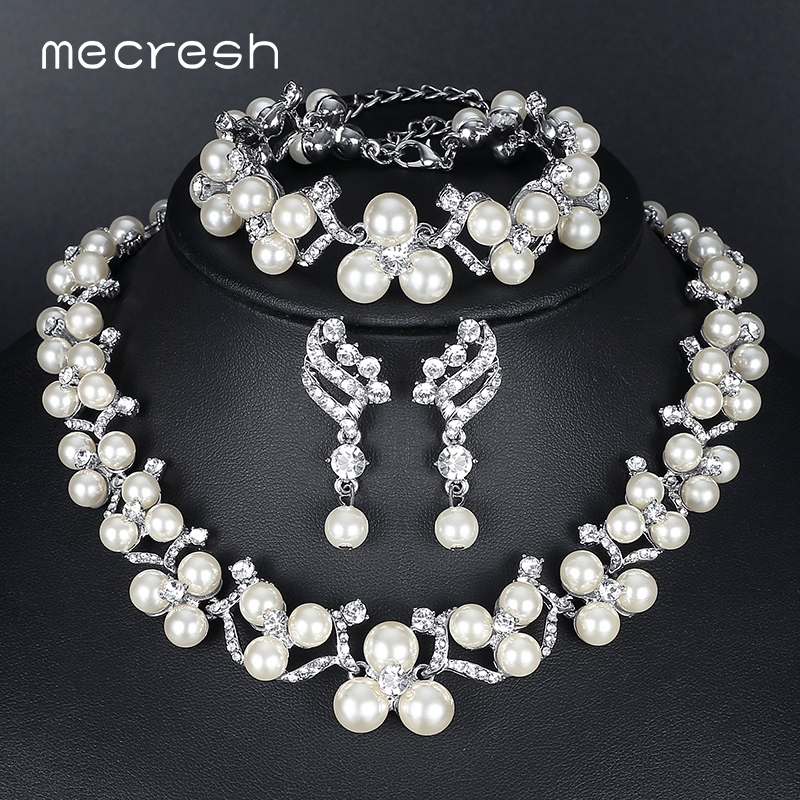 Mecresh Simulated Pearl Bridal Jewelry Sets 2018 New Wedding Jewelry Earrings Bracelets Necklace Sets for Women MTL472+MSL246 classical malachite green round shell simulated pearl abacus crystal 7 rows necklace earrings women ceremony jewelry set b1303