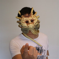 Cosplay bug mask holding face worm spider horror mask adult halloween props latex nausea mask