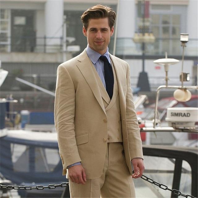 Khaki Double Breasted vest Mens Suit Formal Tuxedo Prom 2017Custom ...