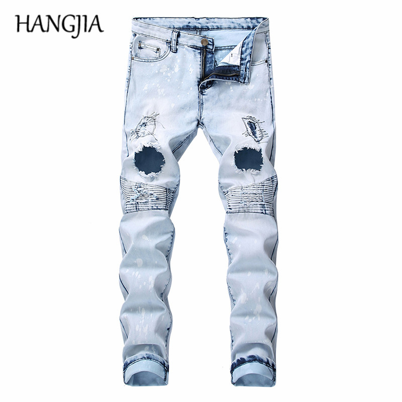 Blue Biker Jeans Man Washed Destroyed Jeans Trousers Streetwear Hip Hop Hole Denim Jeans For Men 2019 New Snow Wash Clothes