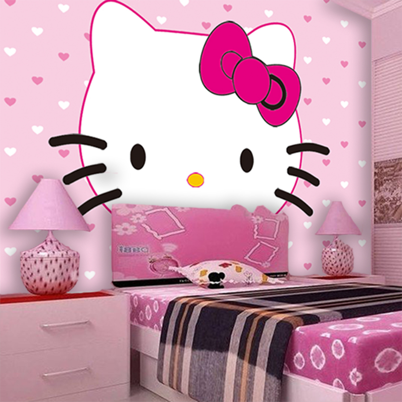 Wholesale HELLO Love Pink KITTY Cat 3d Photo Murals For Baby Kids Girls  Room Vinyl Washable 3d Wall Murals Fresco Home Decor Part 80