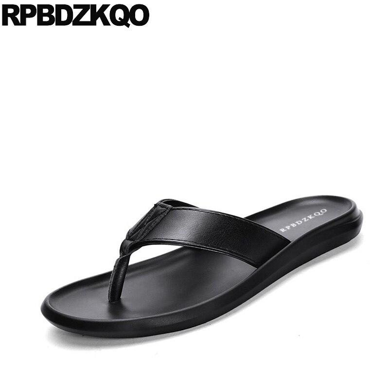 Diapositive pattini del progettista degli uomini di alta qualità nero a strisce di marca famosa nativo pistoni di estate genuino sandali di cuoio di vibrazione flop morbido - 2