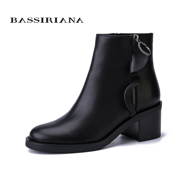 BASSIRIANA New 2017 genuine leather suede ladies shoes woman ankle boots round toe square high heel zip Autumn black 35-40 size bassiriana new 2017 winter high boots shoes woman high heels round toe zipper genuine leather and suede black 35 40 size