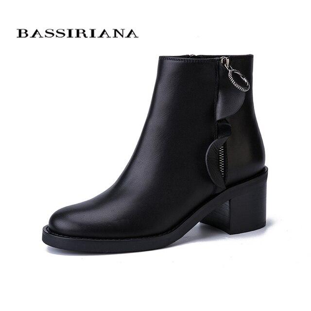 BASSIRIANA Nuovo 2017 del cuoio genuino delle signore della pelle scamosciata scarpe donna caviglia stivali punta rotonda tacco quadrato alto zip Autunno nero 35-40 formato