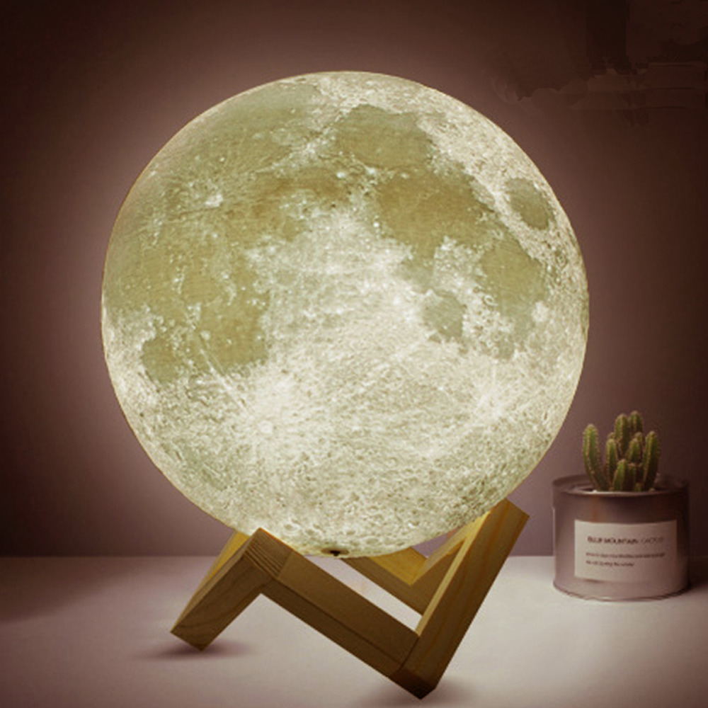 Dikale 3D Printing Moon Lamp 8cm USB Led Touch Light Luminaria Lighting Bedroom Lamp Night Light Color Change Light Xmas Gift magnetic floating levitation 3d print moon lamp led night light 2 color auto change moon light home decor creative birthday gift