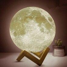 Dikale 3D Printing Moon Lamp 8cm USB Led Touch Light Luminaria Lighting Bedroom Lamp Night Light Color Change Light Xmas Gift
