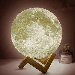 Dikale impressão 3d lua lâmpada 8cm usb led toque luz luminaria iluminação quarto lâmpada noite luz mudança de cor luz natal presente