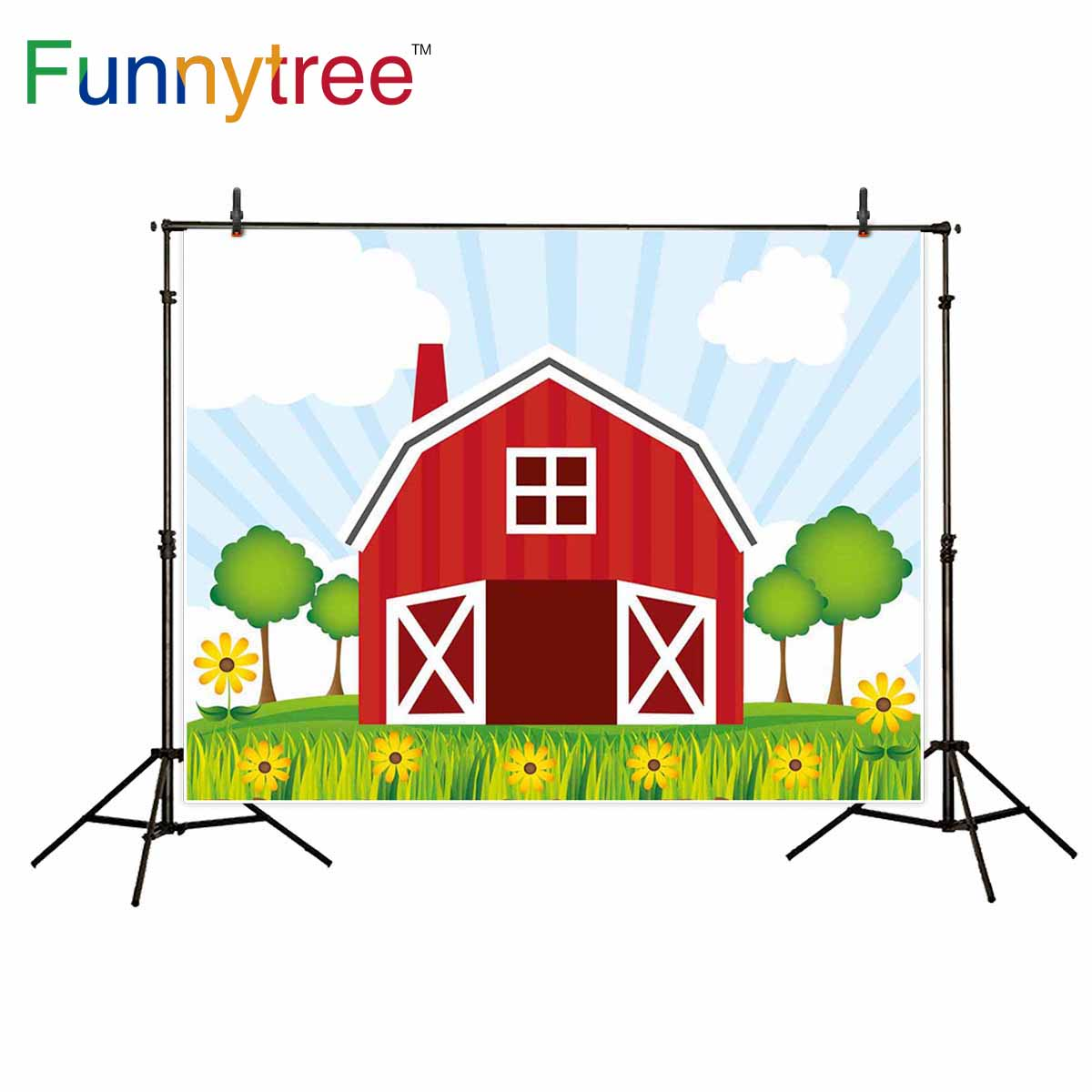 Us 9 58 31 Off Funnytree Backgrounds For Photo Studio Red Barn Cartoon Farm Kids Warehouse Flower Tree Photography Backdrop Photocall In Background