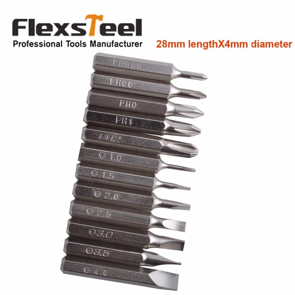 Flexsteel Boa Qualidade 12PCS CR-V Precisão Chave De Fenda Set Bit IncludesPH000, PH00, PH0, PH1, PH2, SL1, SL1.5, SL2, SL2.5, SL3, SL3.5, SL4