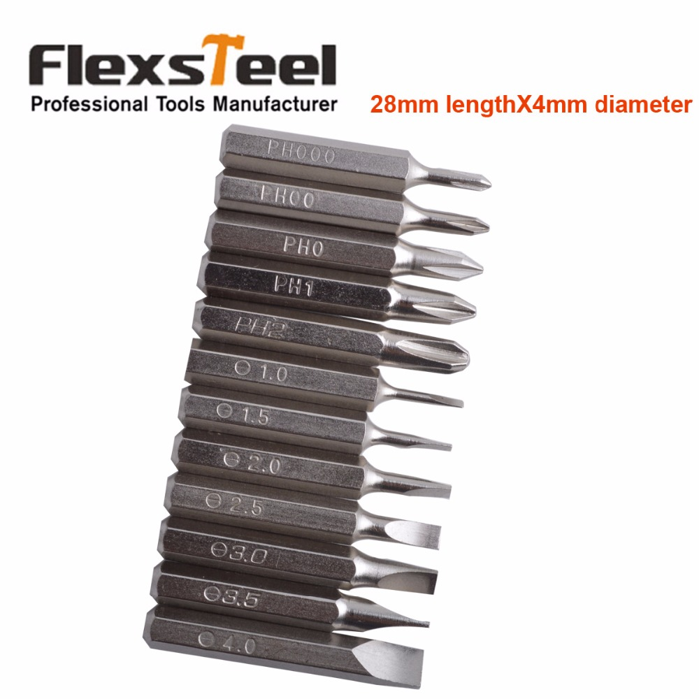 Flexsteel Good Quality 12PCS CR-V Precision Screwdriver Bit Set IncludesPH000,PH00,PH0,PH1,PH2,SL1,SL1.5,SL2,SL2.5,SL3,SL3.5,SL4