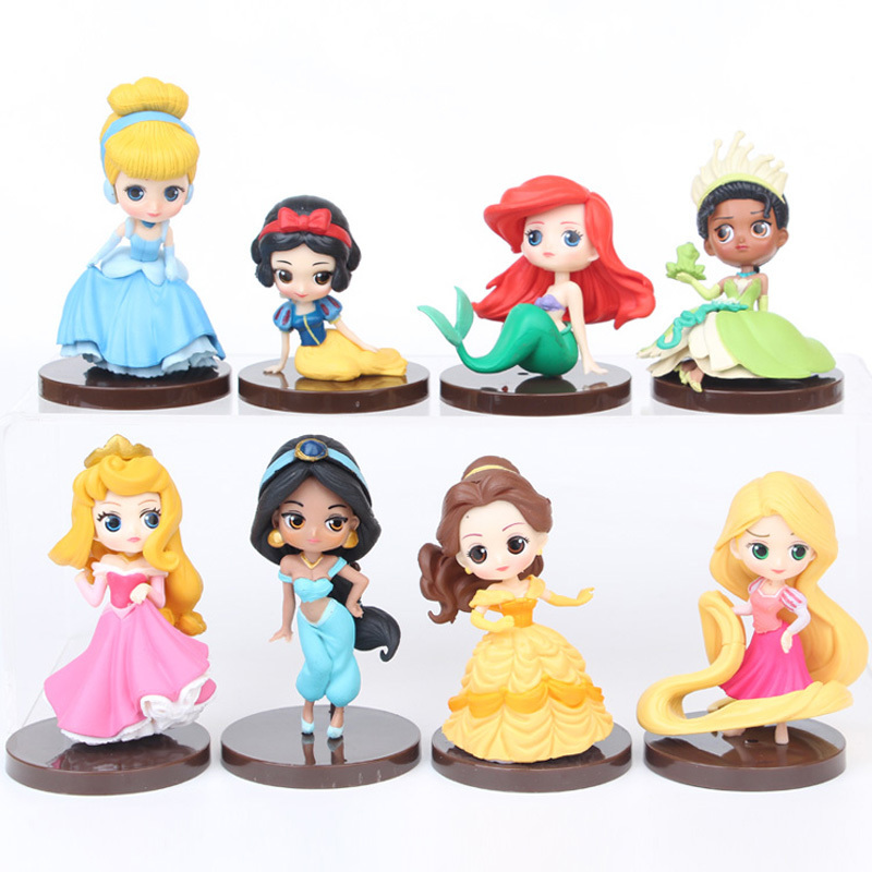 8Pcs/Lot Cute Qposket Princess Figure Toys Ariel Snow White Rapunzel Aurora Mulan Belle Characters Cartoon PVC Model Dolls 6-8CM