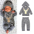 Free Shipping Hot Baby Boy Clothing Sets Deer Head Embroidery Hooded Sweatersuit + Pants 2 Piece for Toddler Boys Outfits BBS068