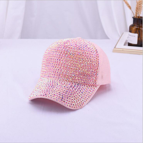 2019 Rhinestones luxury pearl Sequins Baseball Cap For Women Summer Cotton Hat Girls Snapback Hip hop hat Gorras Casquette Bones Lahore