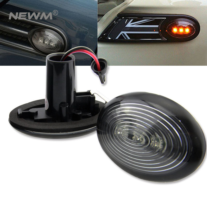 Fit Black Smoked Side Marker Lamps with Amber LED Lights For 2006-2014 MKII MINI Cooper R55 R56 R57 R58 R59 (2nd Gen),12V