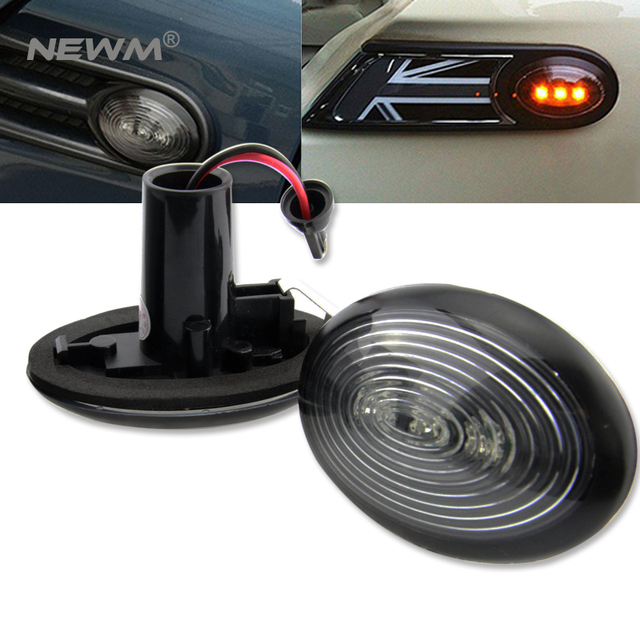 Fit Black Smoked Side Marker Lamps With Amber Led Lights For 2006 2017 Mkii Mini