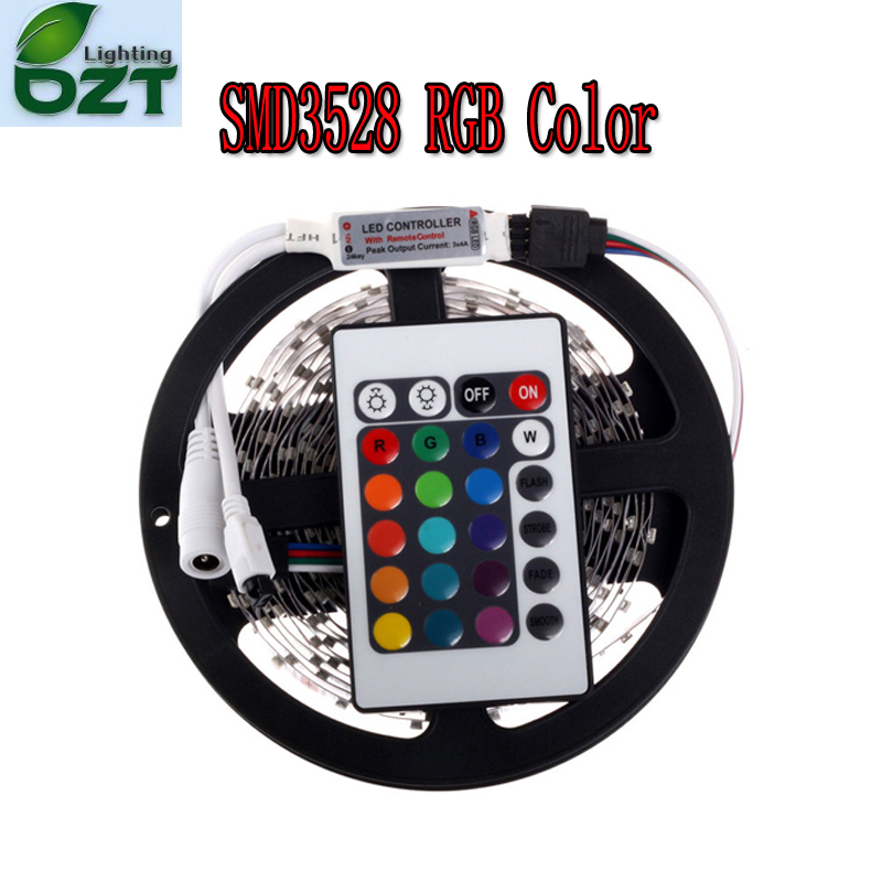 RGB LED Strip 5M 300Led 3528 SMD + 24Key IR Control Remoto de Luz Flexible Led Cinta DC 12V Lámparas de Decoración del Hogar