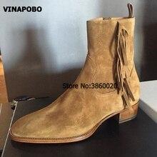 2018 VINAPOBO Brown Suede Tassel Men Ankle Boots Side Zipper Fringe Fashion Low Heel Trainers high top Chelsea Martin Shoe