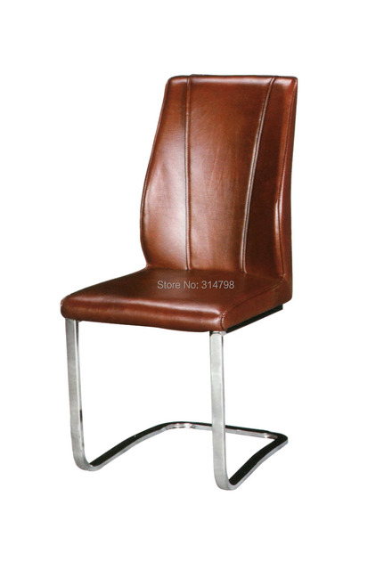 2015 Luxury Brown Leather Dining Chair, Metal Chrome Dining Chairs ...